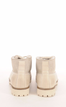 Boots Cuir et  Mouton Blanc Cassé Femme