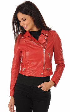 Blouson Yoko en cuir rouge