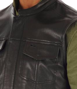 Gilet Biker Cuir Grainé Noir Daytona 73