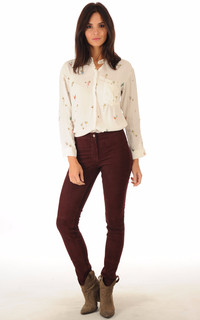 Pantalon cuir velours bordeaux