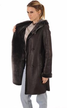 Veste peau lainée marron foncé