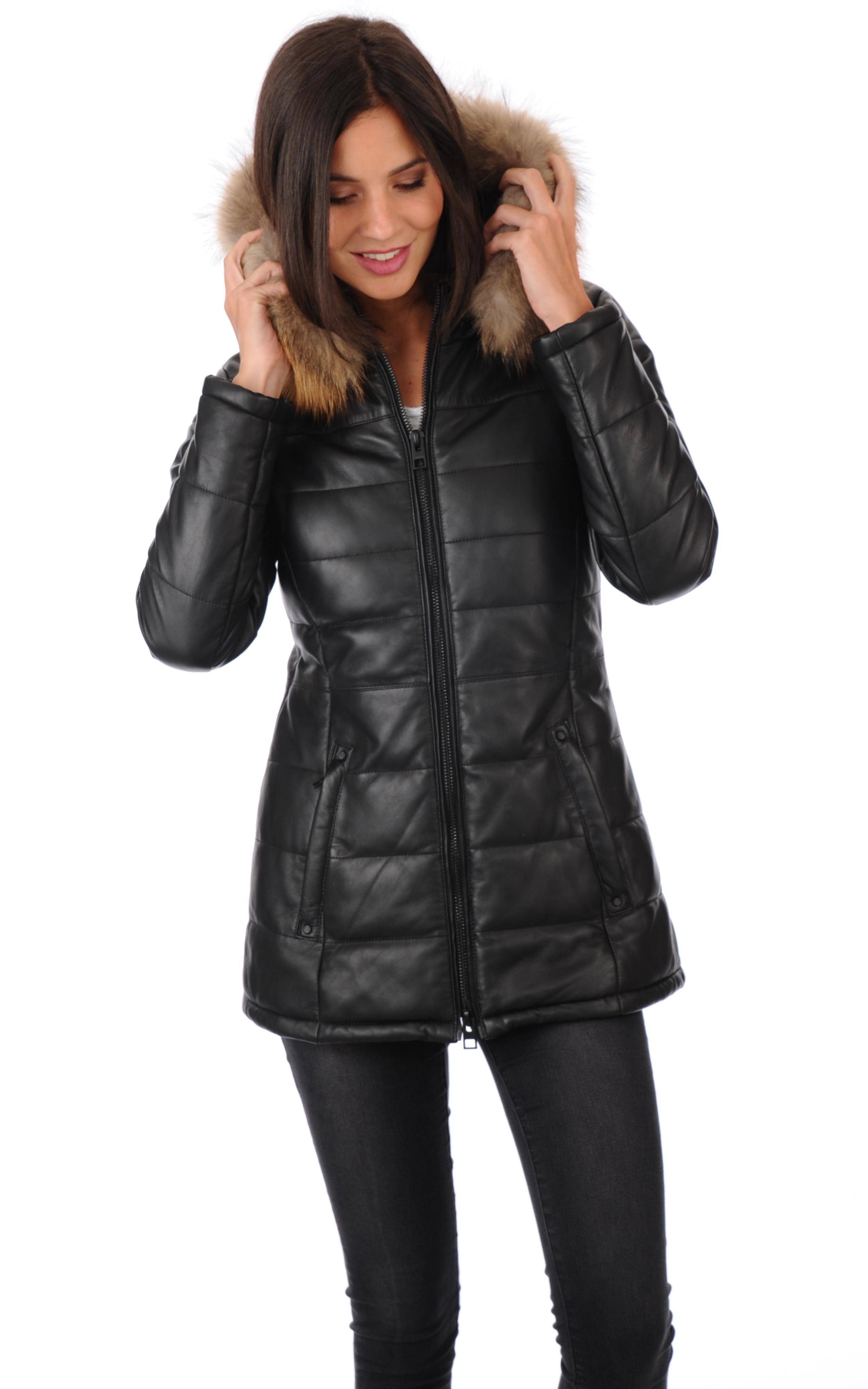 doudoune cuir femme oakwood la canadienne doudoune parka cuir noir. Black Bedroom Furniture Sets. Home Design Ideas