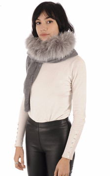 Echarpe merinos et renard gris