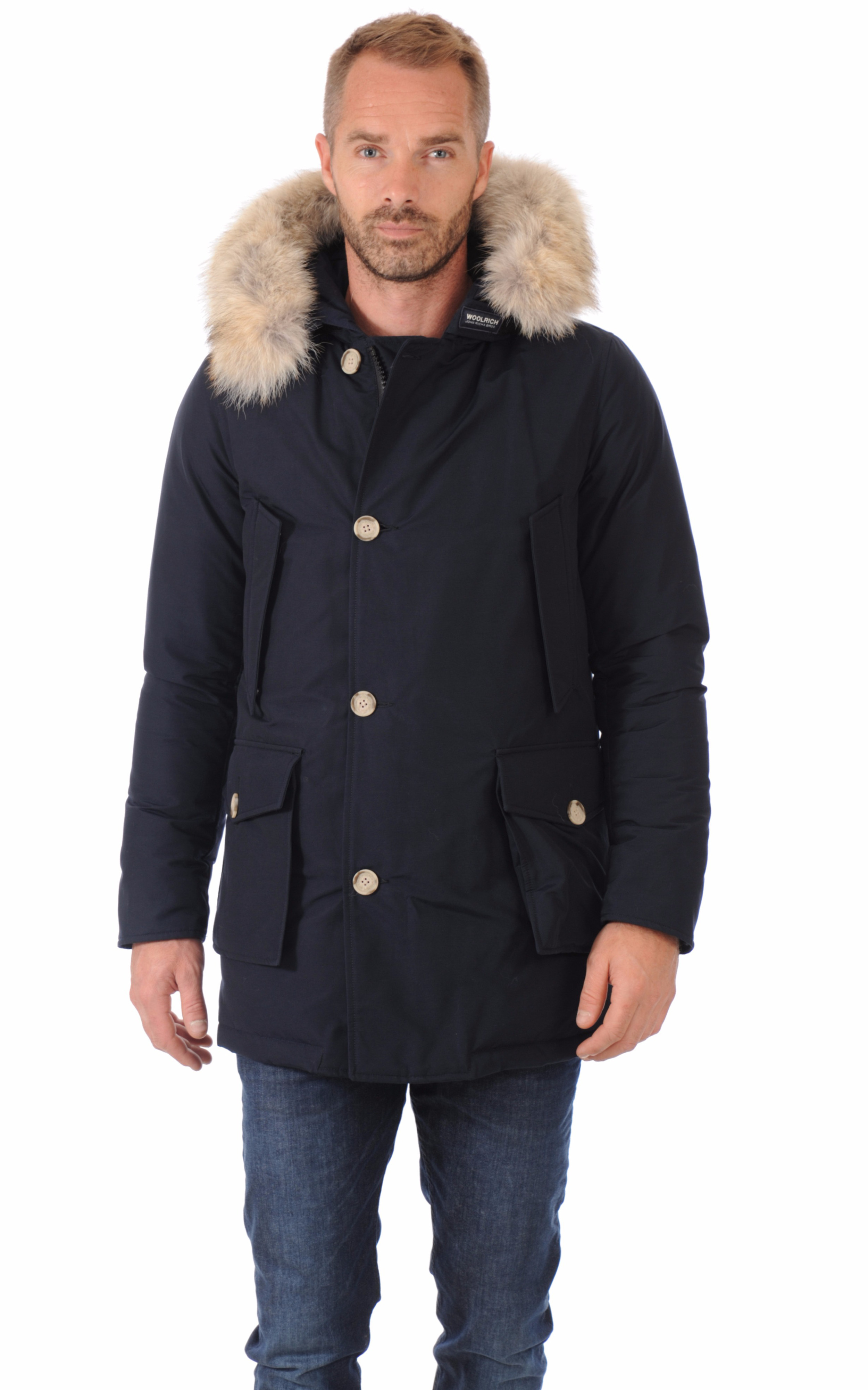 parka avec fourrure homme artic bleu marine woolrich la canadienne doudoune parka textile. Black Bedroom Furniture Sets. Home Design Ideas