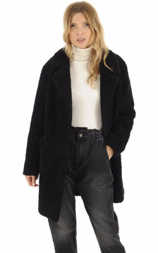 Manteau laine noire femme