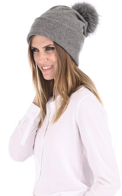 Bonnet laine et renard gris Tsanikidis