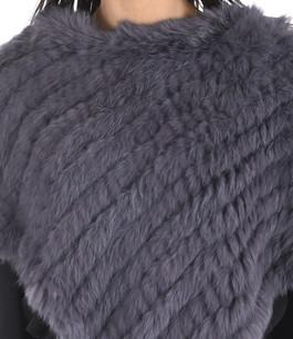 Poncho en lapin gris bleuté La Canadienne