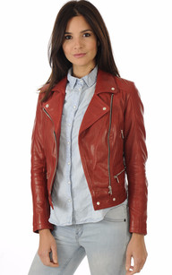 Blouson Cuir Coupe Perf Rouge