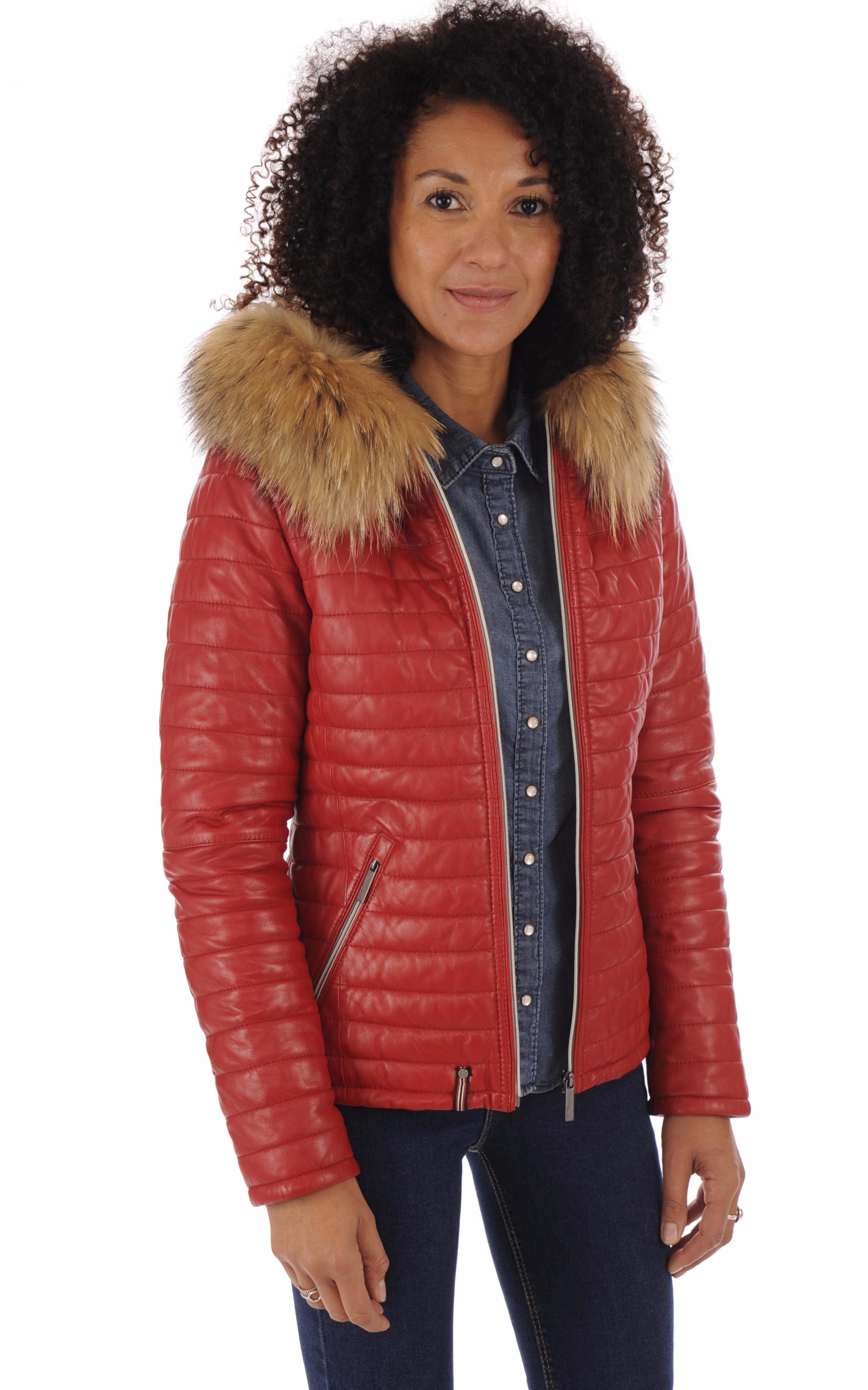 Doudoune fine cuir rouge femme Oakwood