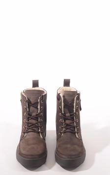 Boots cuir fourrées mouton marron foncé1