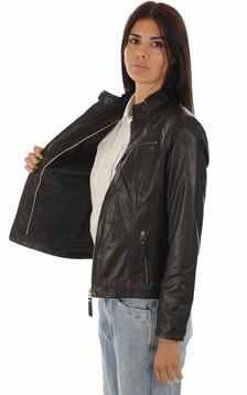 Blouson cuir confortable noir