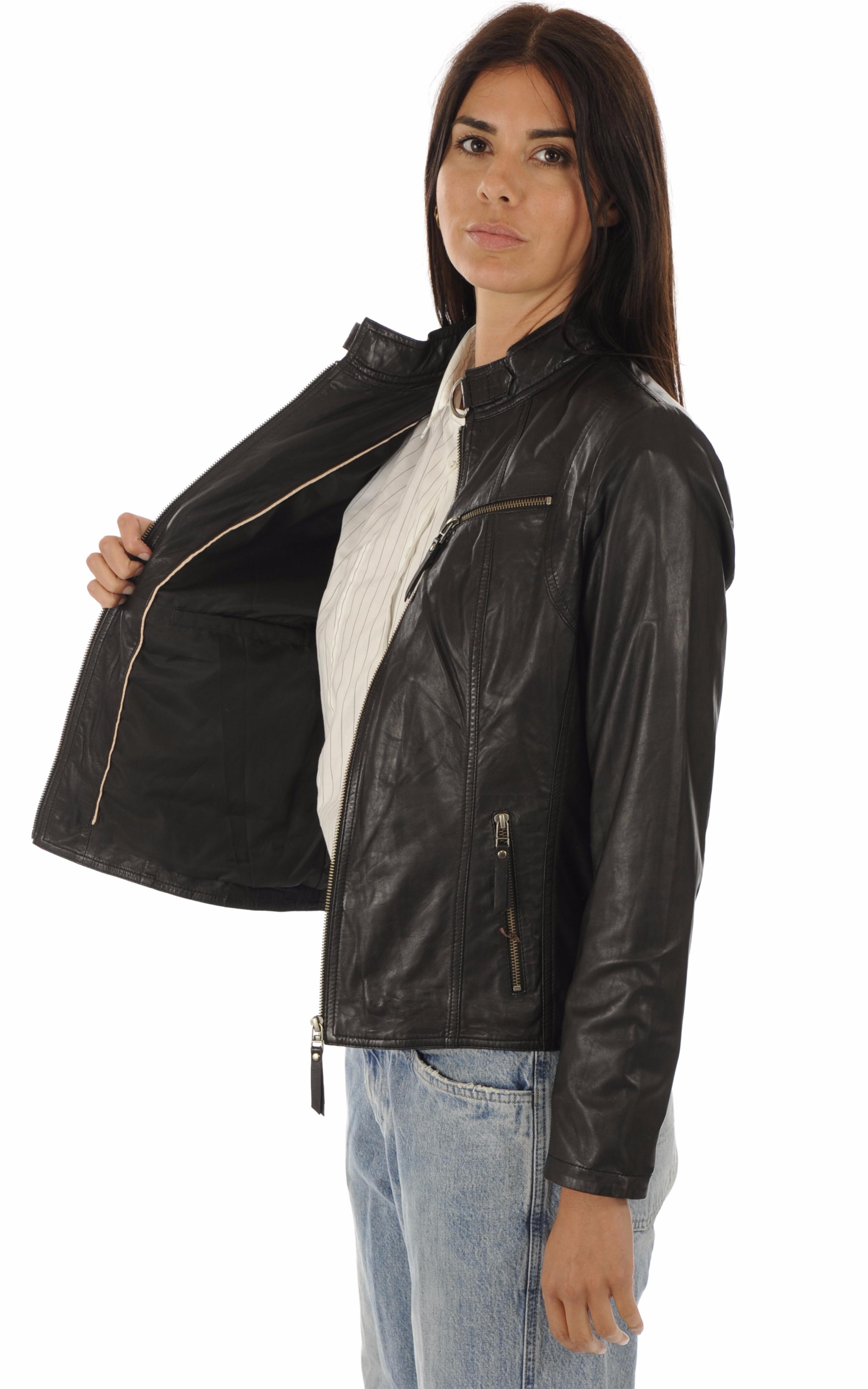 Blouson cuir confortable noir La Canadienne