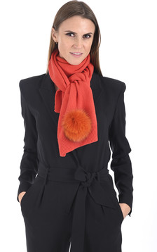 Écharpe cachemire et renard orange