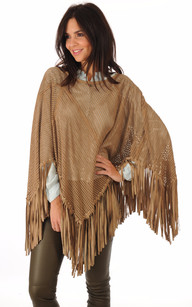 Poncho Cuir Velours Beige1