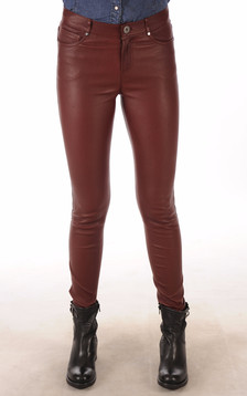 Pantalon Cuir Agneau Stretch Bordeaux1