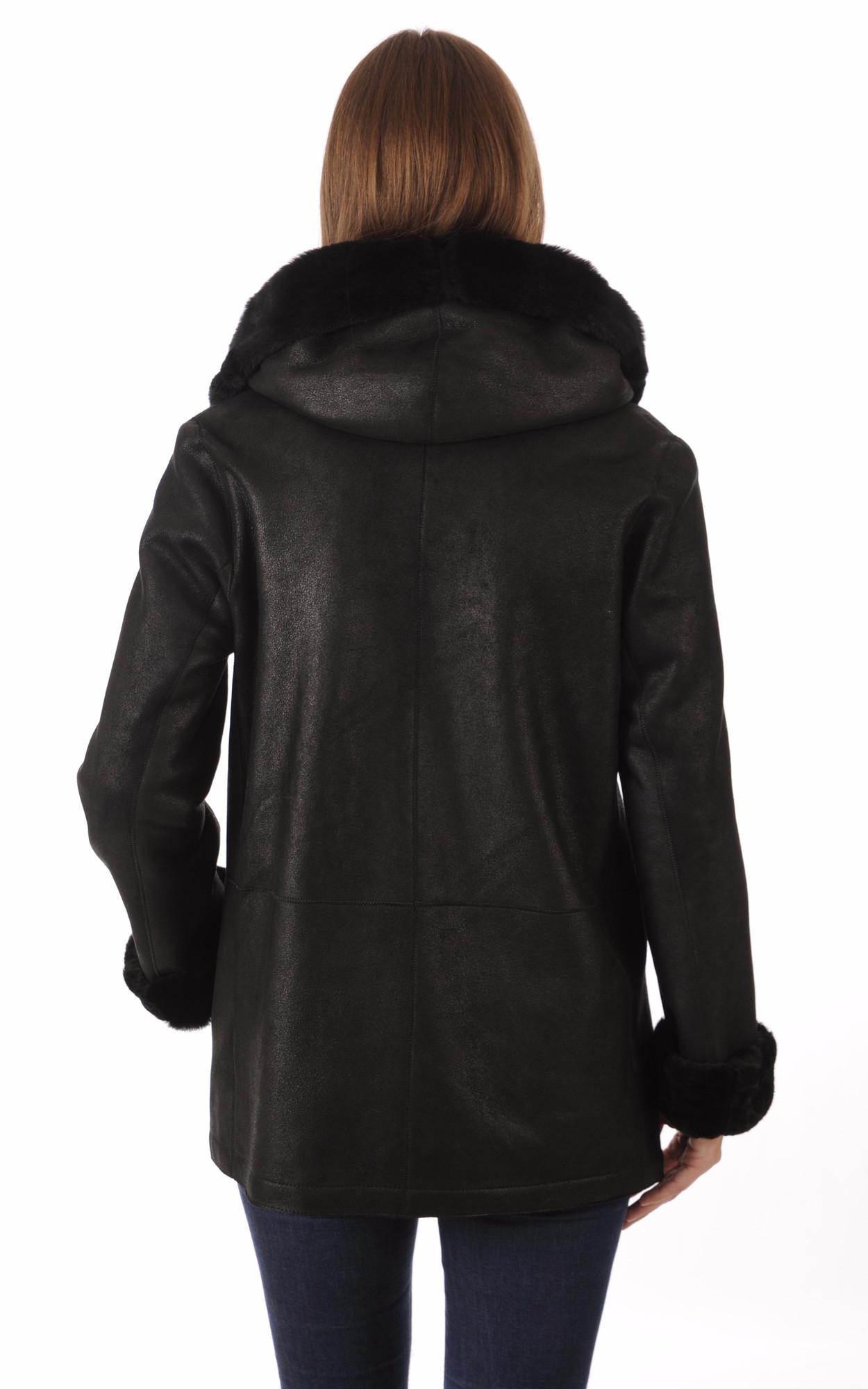 Veste Peau Lainée Noire Confortable