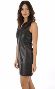 Robe Cuir Noir Coupe Droite Oakwood