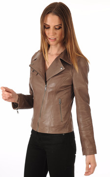 Blouson en cuir Lovely marron1