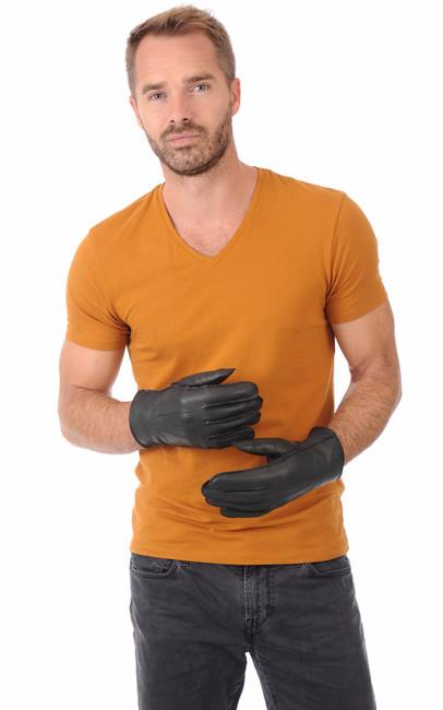 gants homme cuir et fourrure la canadienne la canadienne accessoires cuir noir. Black Bedroom Furniture Sets. Home Design Ideas