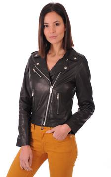 Blouson en cuir noir femme1