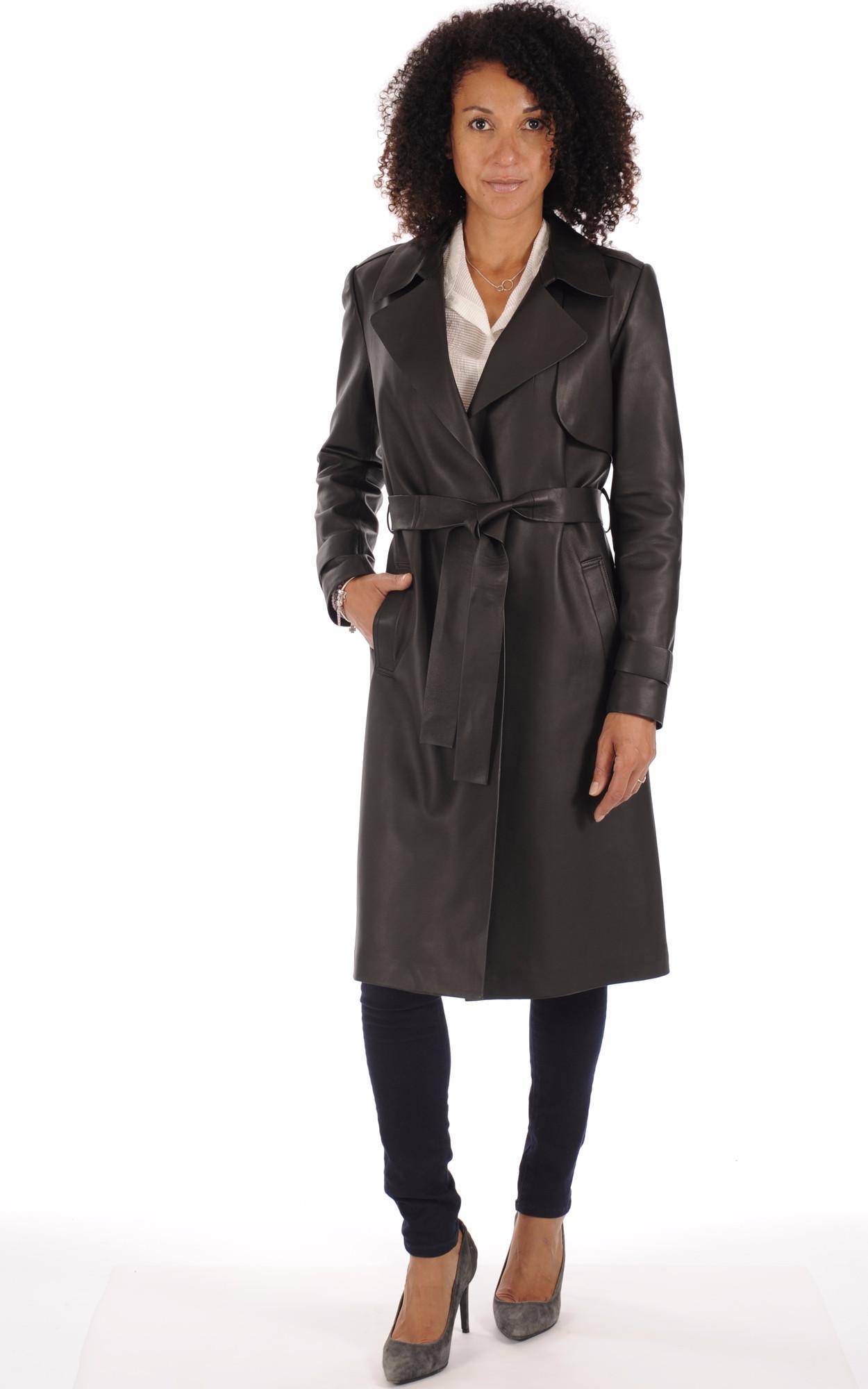Manteau cuir et fourrure femme noir
