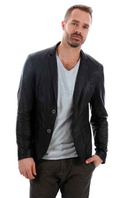 blazer cuir homme milestone la canadienne veste 3 4 cuir noir. Black Bedroom Furniture Sets. Home Design Ideas