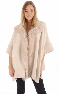 Poncho en laine beige1