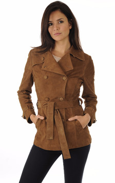 Trench Cuir Velours Tabac1
