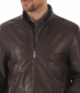 Blouson Cuir Marron Coupe Confort Smarty