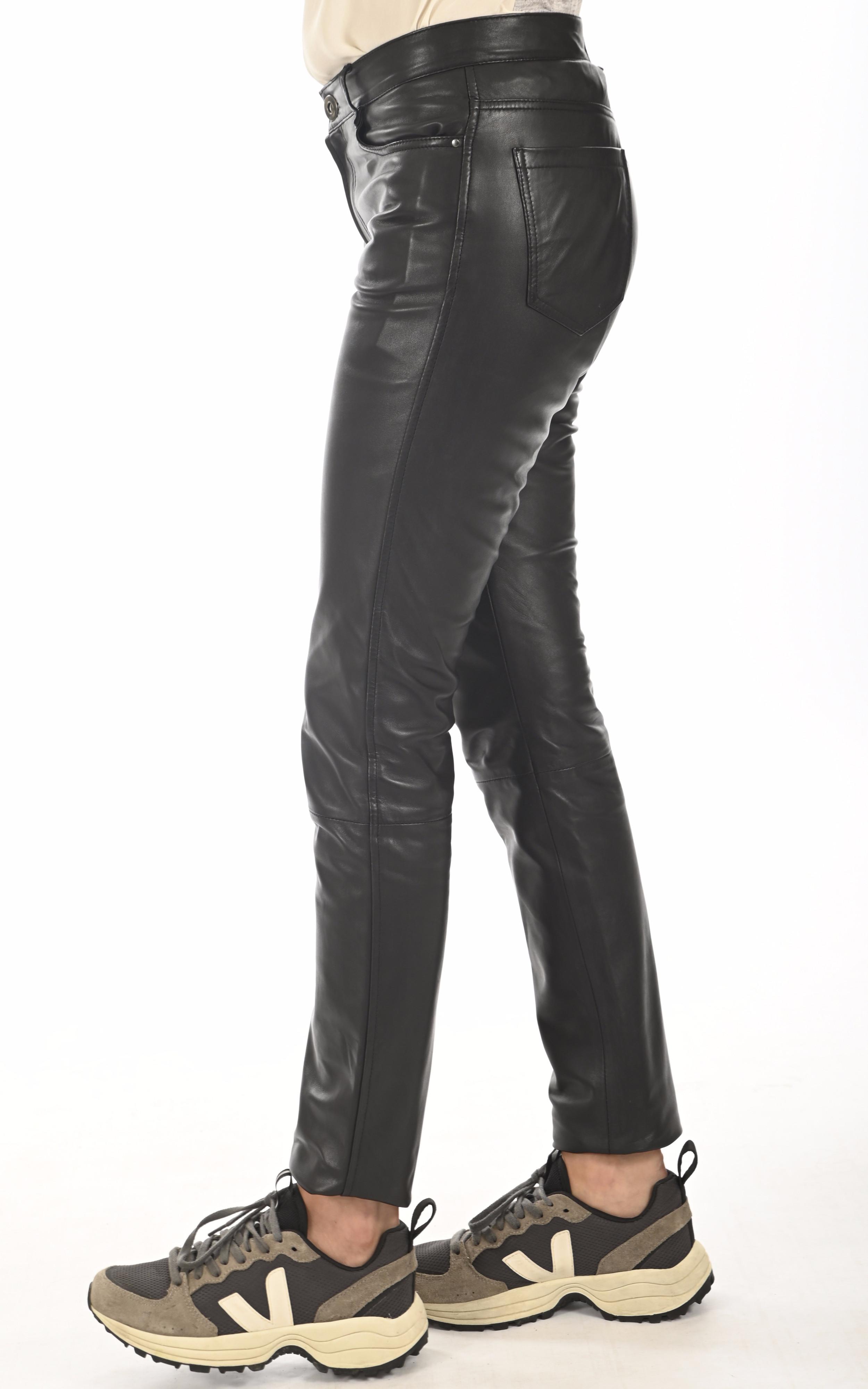 Jean slim cuir noir Serge Pariente