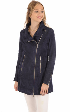 Veste Cuir Velours Bleu Foncé