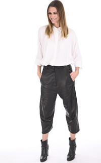 Pantalon en cuir agneau noir