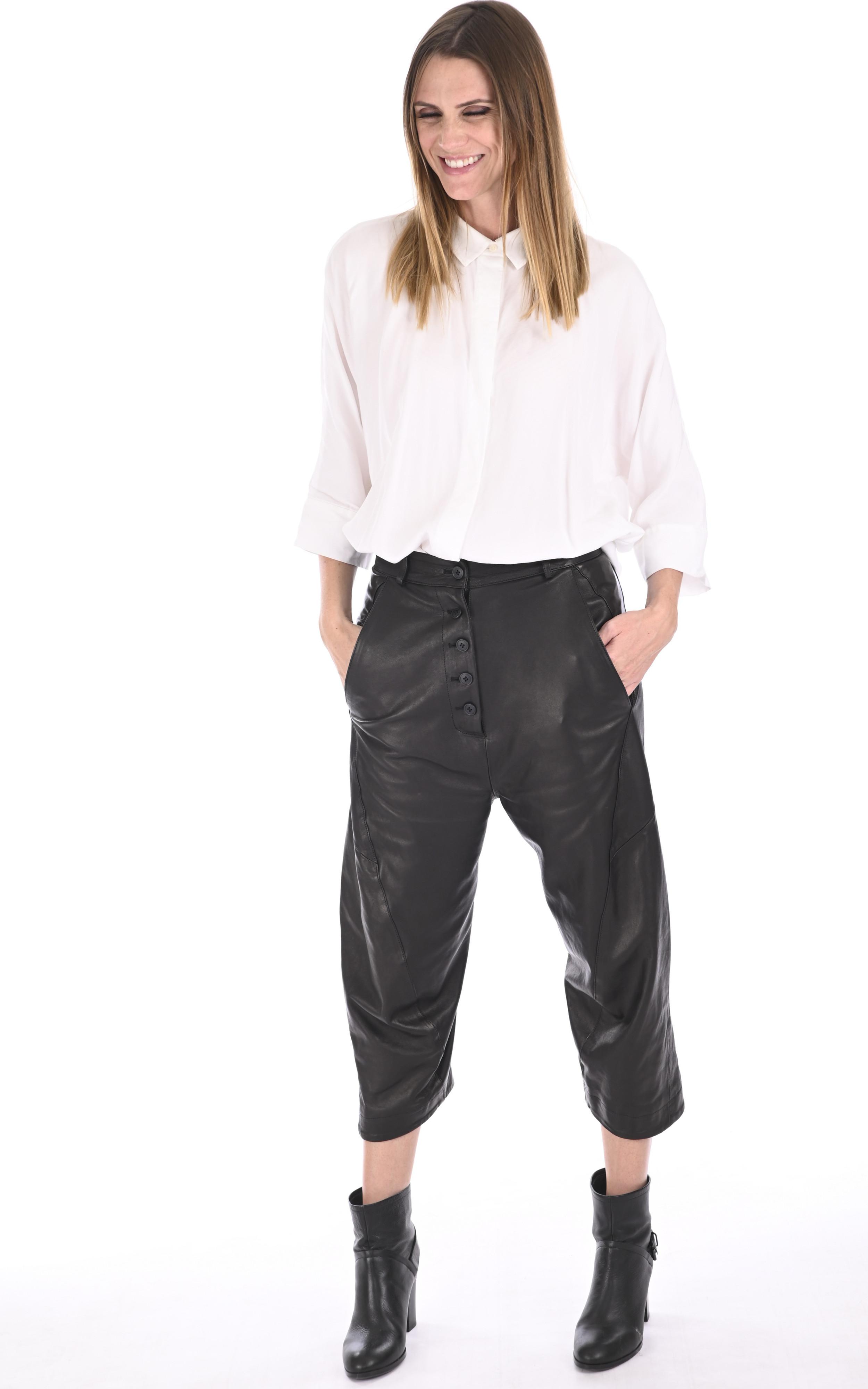Pantalon en cuir agneau noir La Canadienne