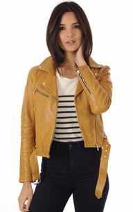 Blouson Cuir Coupe Perf Jaune Moutarde
