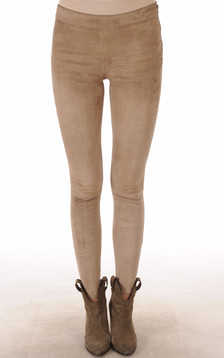 Legging Cuir Velours Stretch Beige1