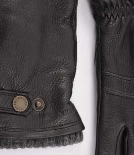 Gants en cuir d'élan noir Hestra