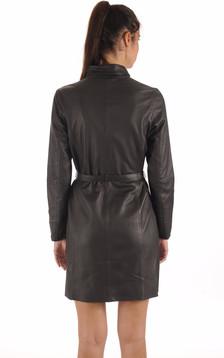 Robe / Surveste Cuir Ceinturée Noire