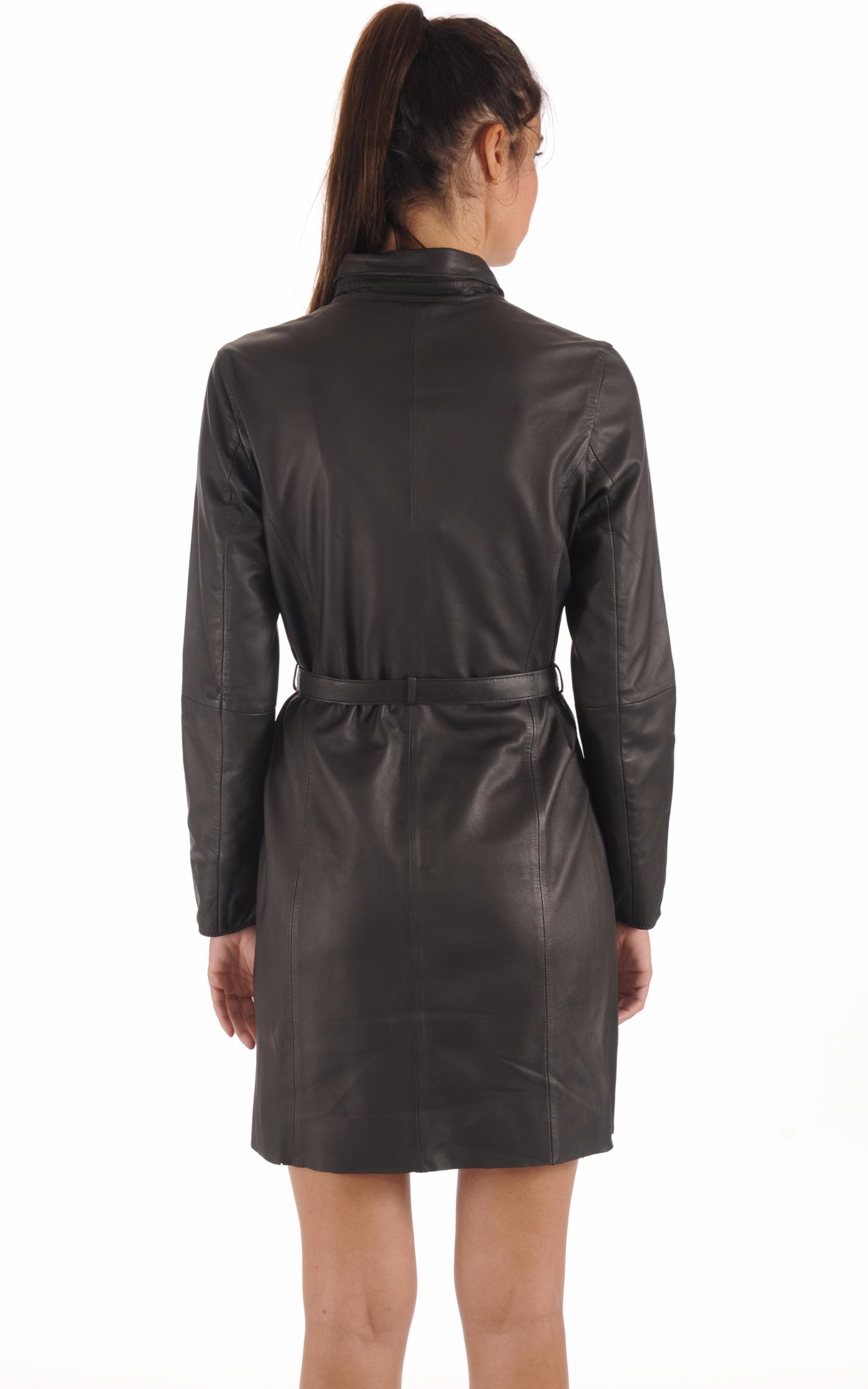 Robe / Surveste Cuir Ceinturée Noire Goosecraft