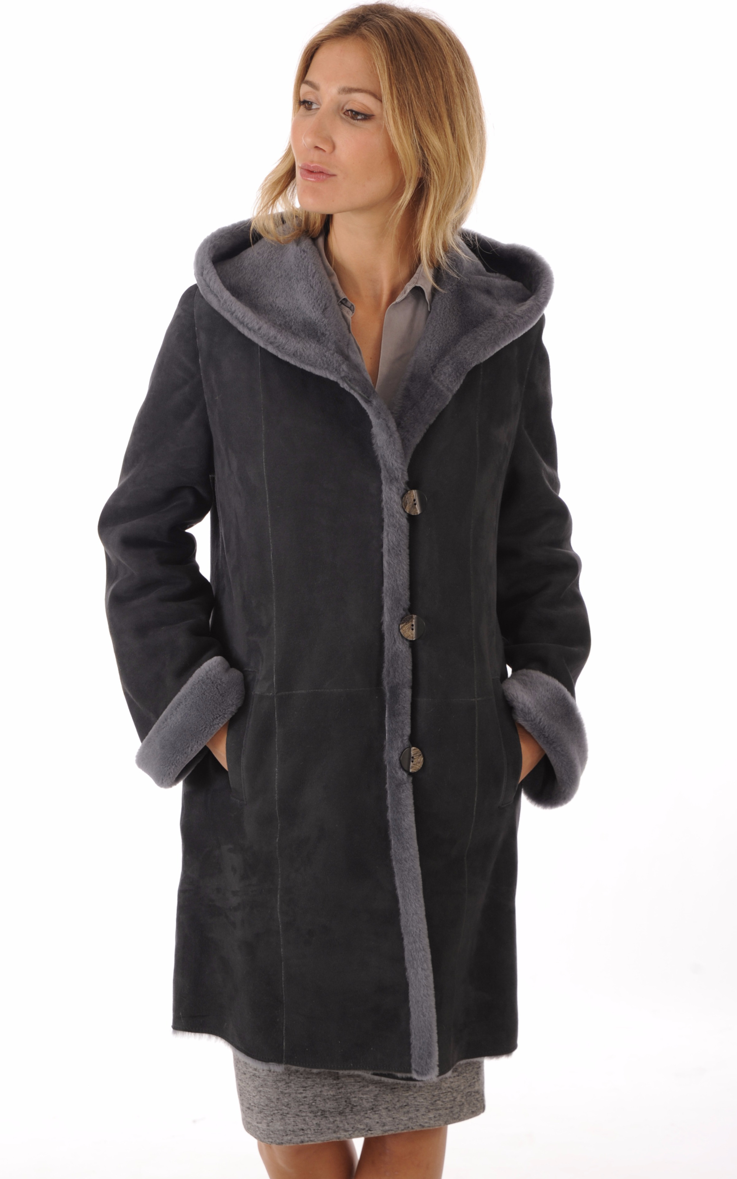 Manteau peau lainée mérinos bleu La Canadienne