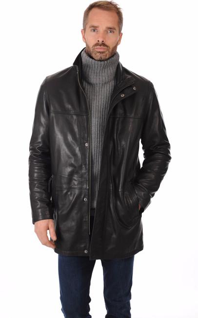 veste longue cuir chaud pour homme la canadienne la canadienne veste 3 4 cuir noir. Black Bedroom Furniture Sets. Home Design Ideas