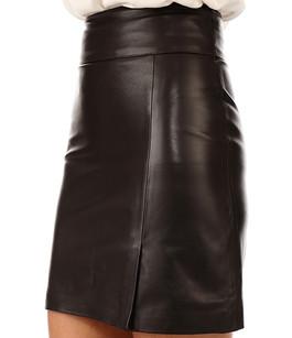Jupe courte cuir marron La Canadienne