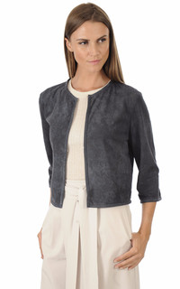 Veste Spencer Cuir Velours Bleu