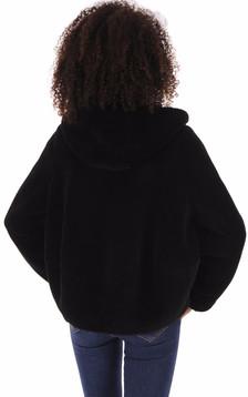 Veste en laine à capuche noir