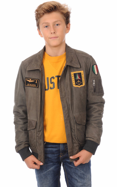 blouson cuir enfant aeronautica militare la canadienne blouson cuir anthracite. Black Bedroom Furniture Sets. Home Design Ideas