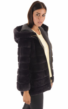 Veste Chic Fourrure Rex Anthracite1