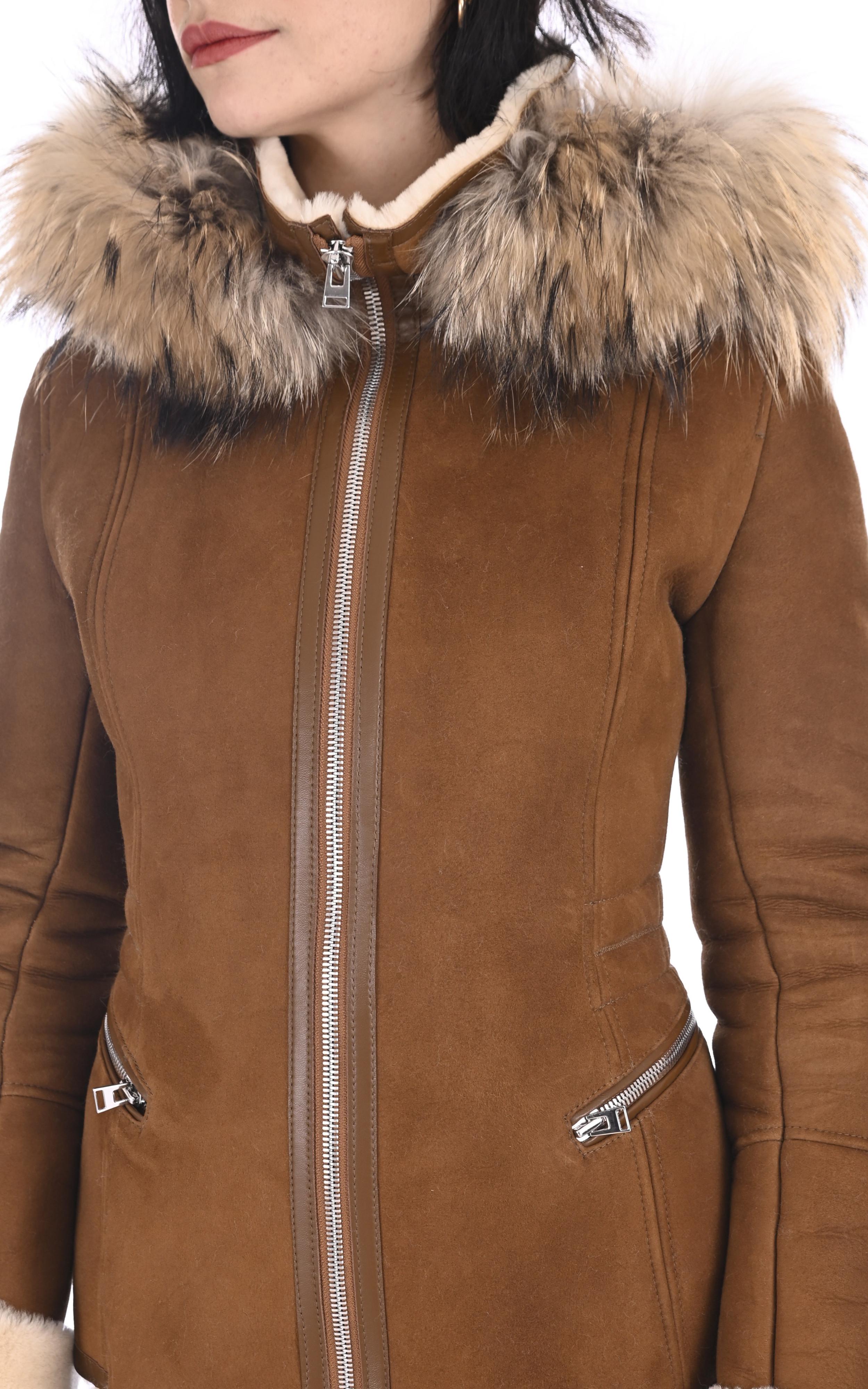 Veste peau lainée velours camel La Canadienne