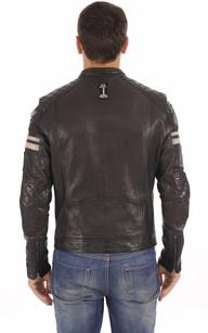 Blouson Walker Cuir noir Style Motard