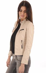 Blouson Cuir Femme Blanc1