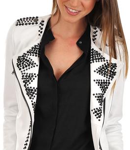 Veste Agneau Blanc Cloutée La Canadienne