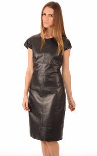 Robe Coupe Confort Cuir Noir Femme1